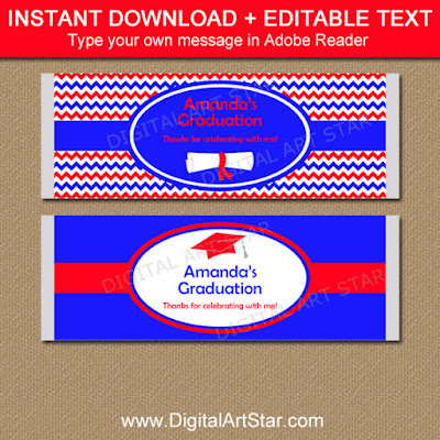 royal blue and red chevron graduation candy wrappers to make easy graduation party favors