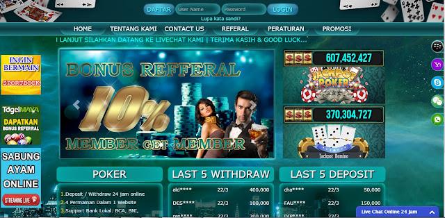menu lobby poker maya