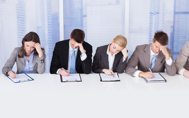 photo of panel interview that is not effective