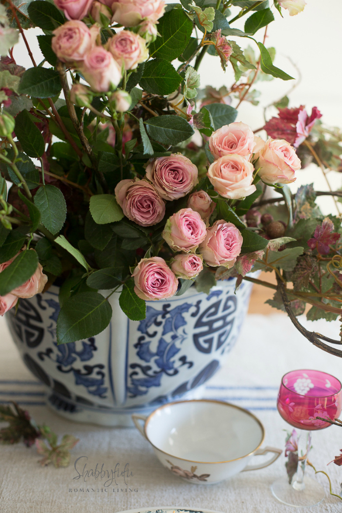 roses in chinoiserie flower pot