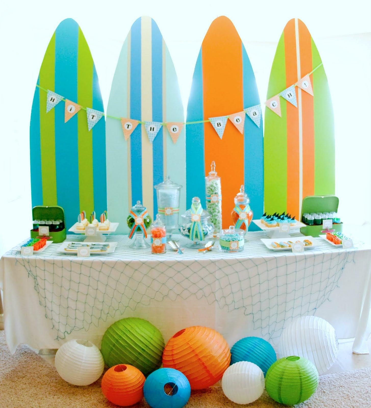 Kara 39 s party ideas surf 39 s up summer pool party kara 39 s - Beach theme decorating ideas ...