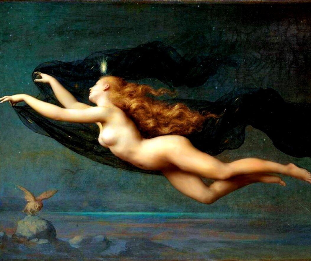 tela pintada com uma mulher, simbolizando a noite e um fundo azul estrelado