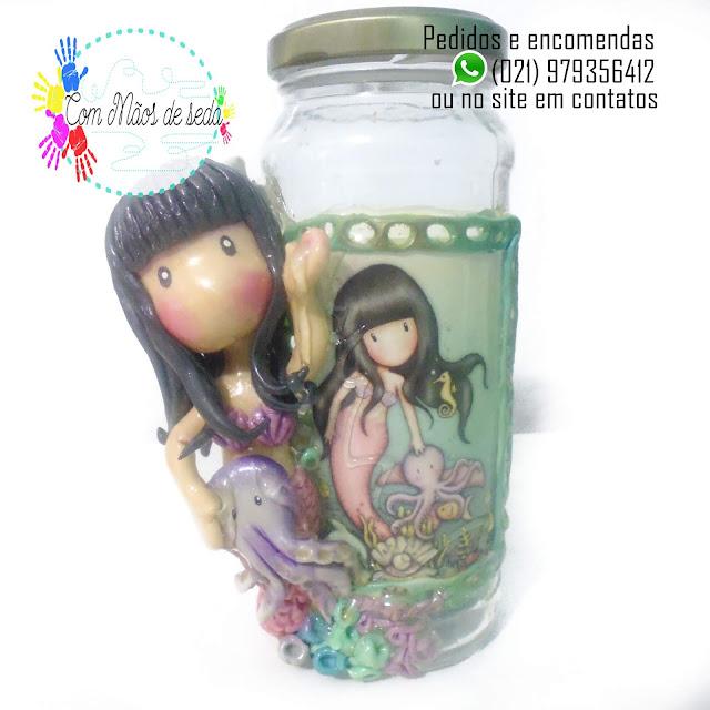 Pote de vidro decorado - Boneca Gorjuss Sereia - Encomende a sua!