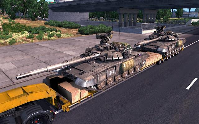 American Truck Simulator T-90A Tanks Trailer MODs