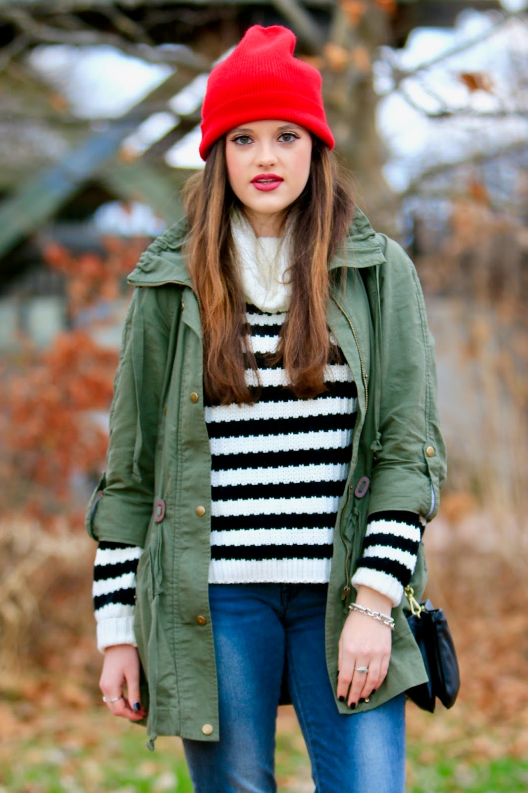 red beanie fashion blogger