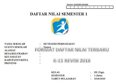 Format Daftar Nilai/ Penilaian Kurikulum 2013 Revisi 2018 Semester 1 Kelas 3 SD