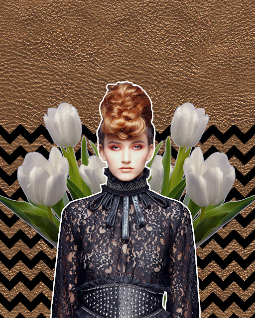 fashion collage art with flowers