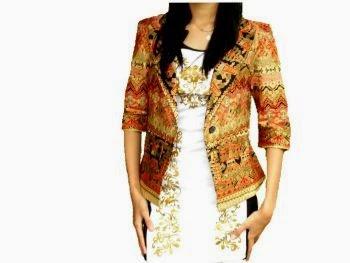 Model baju batik kerja, batik wanita blazer prada
