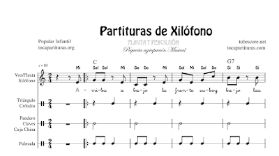 10 Childrens Songs Sheet Music for Xylophone / Metalophone, Flute, Voice and Small Percussion / Body Percussion JPG PDF and MIDI