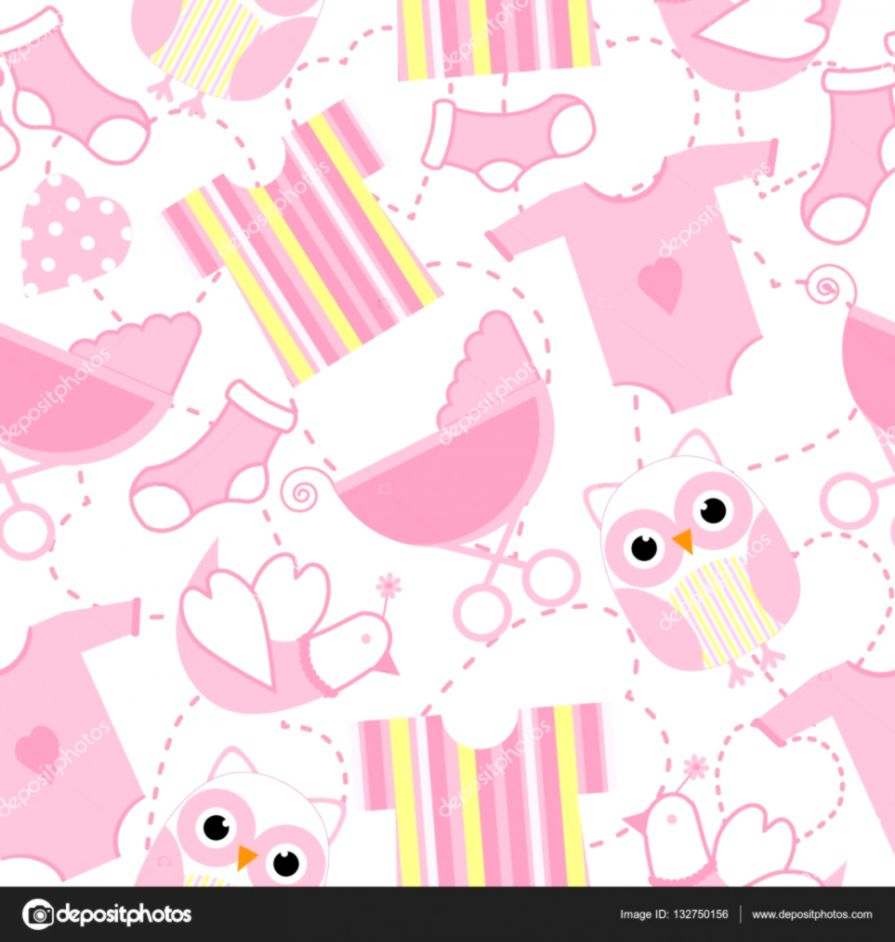 Seamless background of baby shower illustration with cute pink