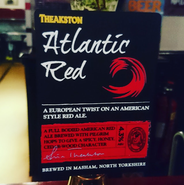 Yorkshire Craft Beer Review: Atlantic Red from Theakston real ale pump clip