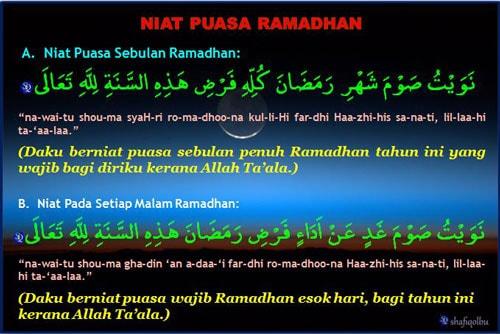 niat puasa sebulan ramadhan