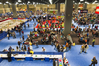 An overview of part of the LEGO® KidsFest show floor at the Connecticut Convention Center in Hartford, CT.