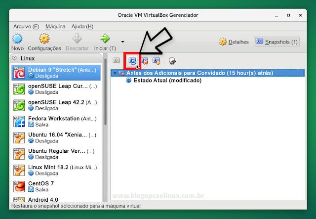 Clique no botão para restaurar o Snapshot da sua VM