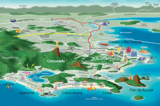 mapa turistico y consejos para viajar a Rio de Janeiro