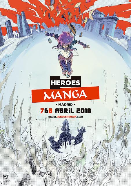 """Cartel y novedades del """"Héroes Manga Madrid 2018""""."""