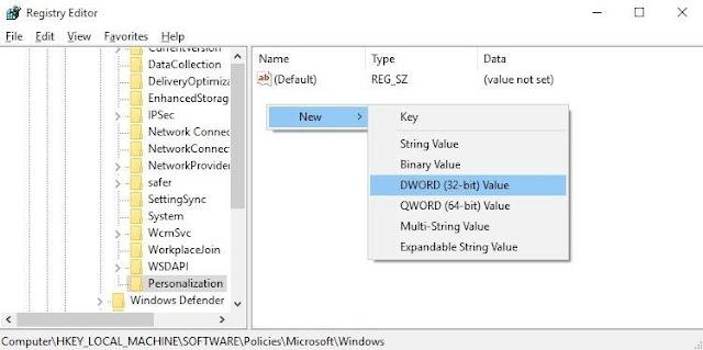 Menggunakan Registry Editor untuk Menonaktifkan Layar Kunci - 5