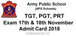APS TGT, PGT, PRT Admit Card 2018