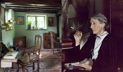 habitación de la casa de Virginia Woolf y retrato de la escritora.