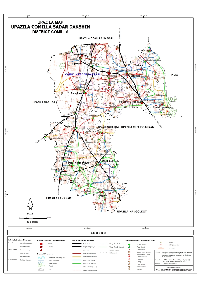 Comilla Sadar (Dakshin) Upazila Map Comilla District Bangladesh