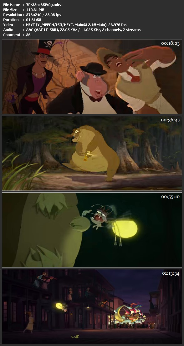 Screen Shot Of The Princess and the Frog 2009 In Hindi Dual Audio BRRip 100MB Mobile HEVC
