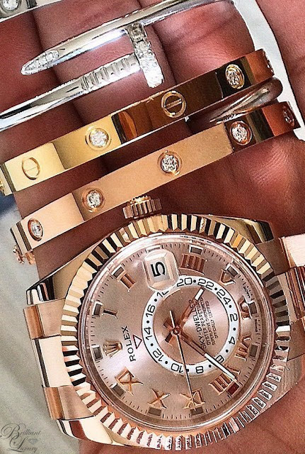 Brilliant Luxury ♦ combine: Rolex watch ~ Cartier bangles