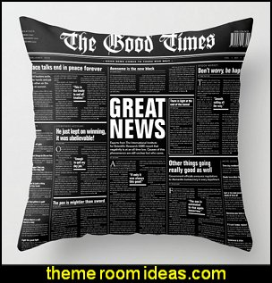 Newspaper with only good news Throw Pillow     newsprint bedding - newsprint decor - decorating ideas with newsprint bedding - newsprint bedding - newspaper wallpaper - newsprint  decor - newsprint murals - Newspaper print newspaper walls - newsprint bedroom decorating ideas - newsprint home decor - bookworm decor - Bibliophile decorating ideas -