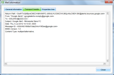 Email transport header displayed as text in a viewing window.