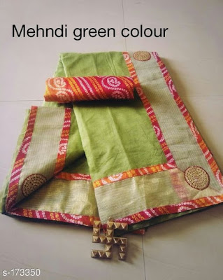 Bordered Supernet Sarees with Bandhej Cotton blouse