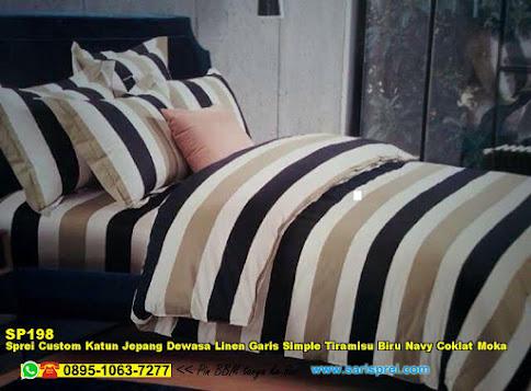 Sprei Custom Katun Jepang Dewasa Linen Garis Simple Tiramisu Biru Navy Coklat Moka
