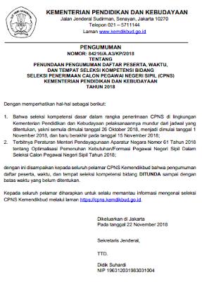 Penundaan Hasil SKD Penundaan Jadwal Pengumuman Peserta SKB CPNS Kemendikbud 2018