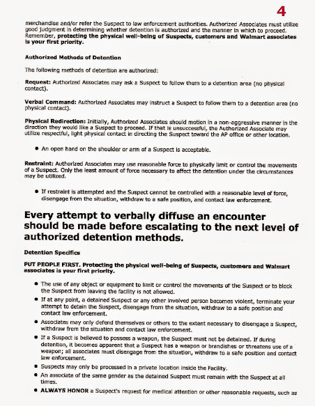 Wal Mart Shoplifters Policy (AP-09): 2017