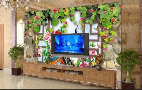 Tranh dán tường 3d khổng tước hoa hồng leo