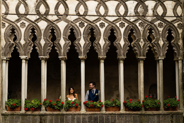 Wedding couple at Villa Rufolo