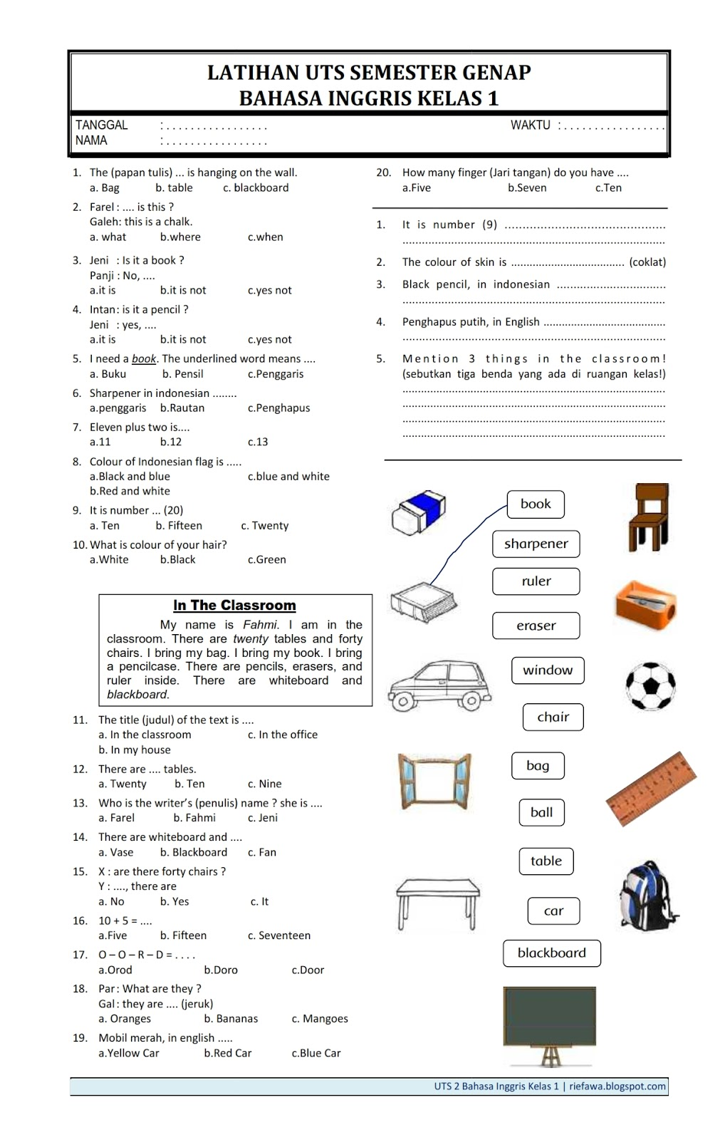 1 muatan sbdp by irma7laili7fitria. Contoh Soal Bahasa Inggris Things In The Classroom - BangSoal