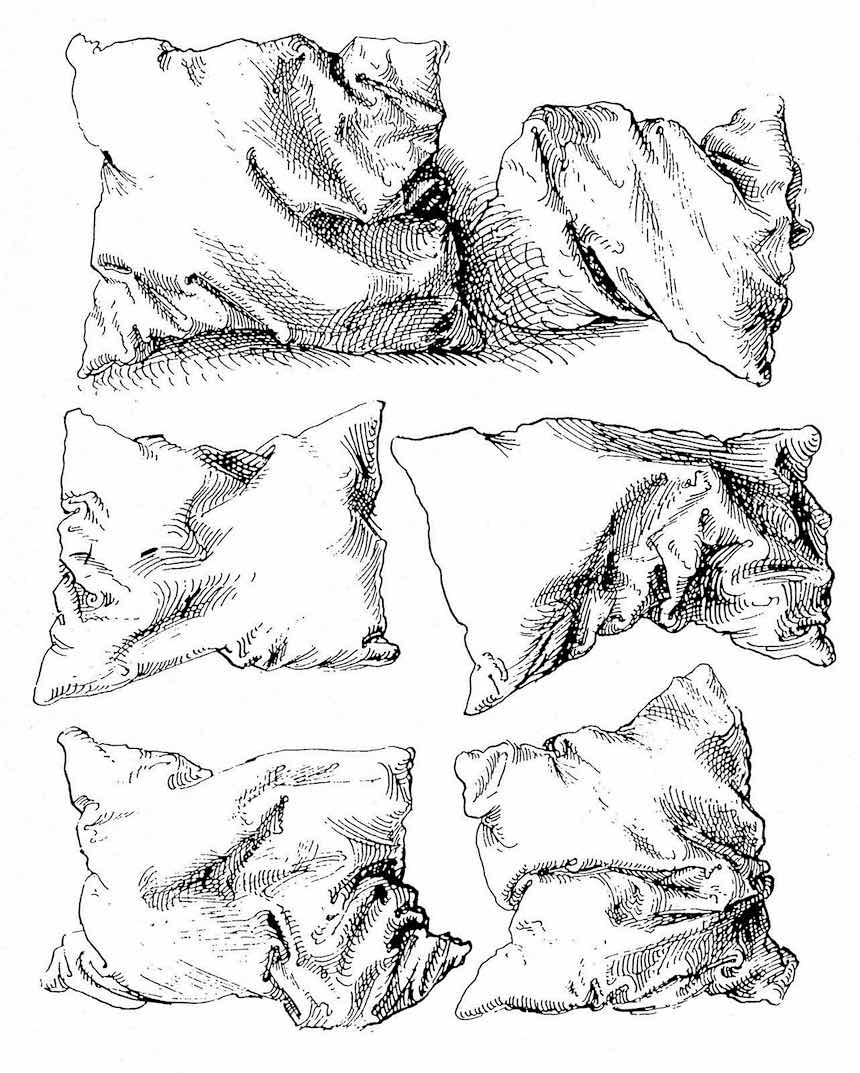 studies of a pillow by Albrecht Dürer, 1493