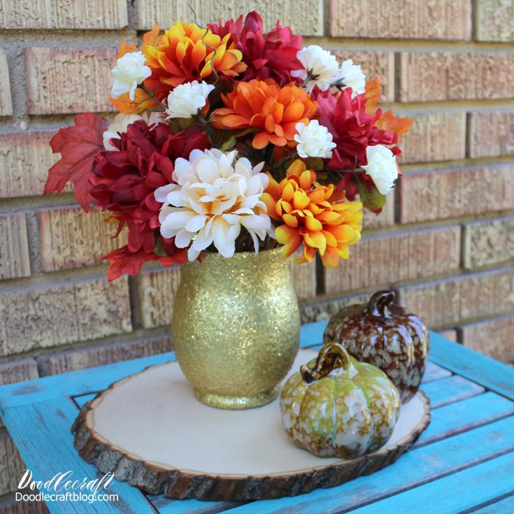 Doodlecraft Dollar Tree Crafts Gold Glitter Autumn Vase Diy