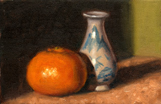 Oil painting of a mandarine beside a blue and white miniature porcelain vase.