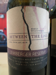 Between The Lines Lemberger Reserve 2013 - VQA Four Mile Creek, Niagara Peninsula, Ontario, Canada (89 pts)