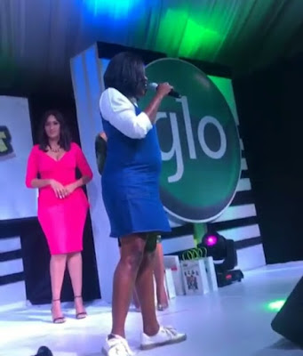 Photos pregnant Funke Akindele shows off baby bump at Glo event