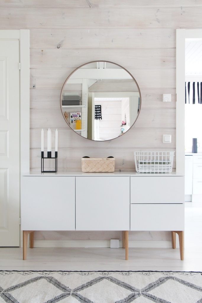 round statement mirror | natural wood wall