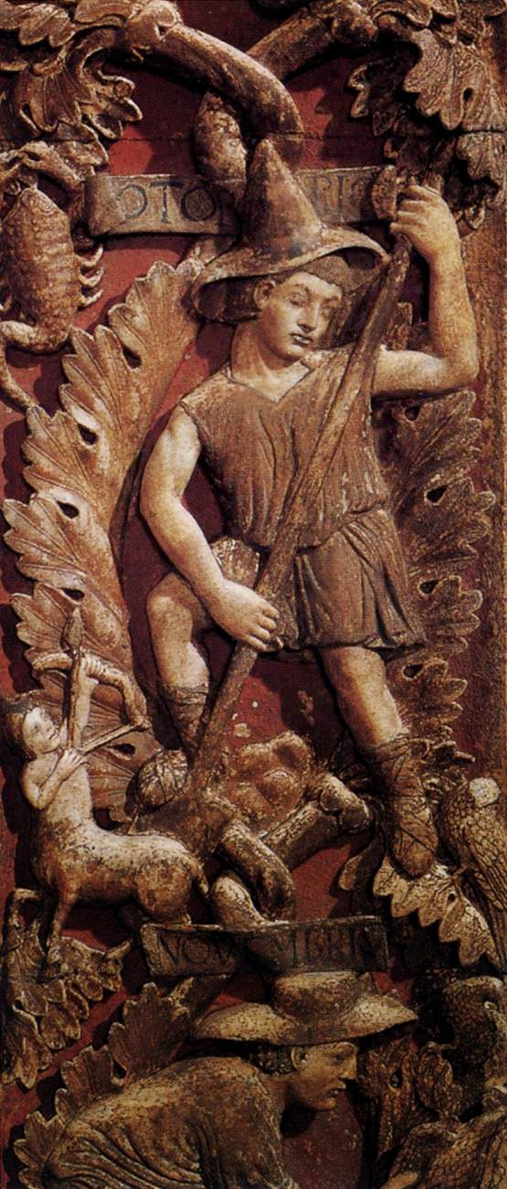 13th century bas-relief of the month of October, Central door, Basilica San Marco, Venice