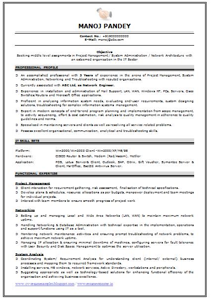 resume of it engineer