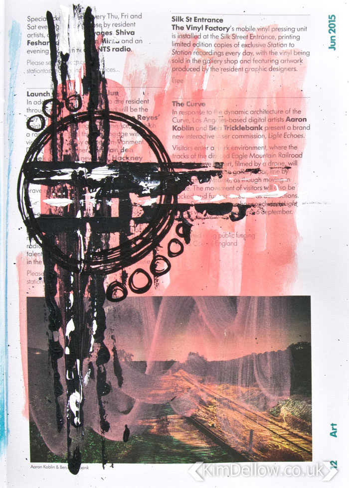 Art journal page using inks, paints and pens Page 1, By Kim Dellow #KimDellow