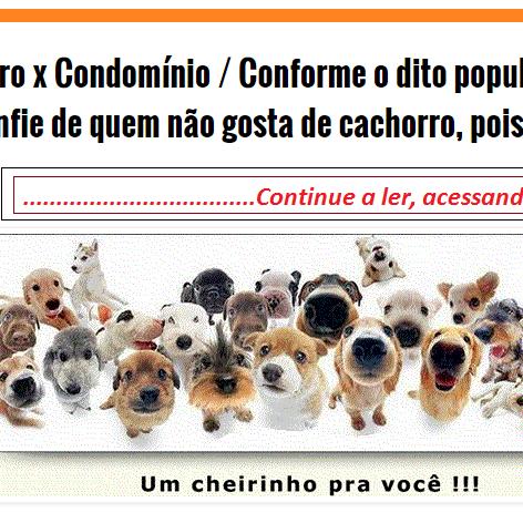 """Cachorro x Condomínio / Conforme o dito popular, """"desconfie de quem não gosta de cachorro, pois coisa boa não é"""""""
