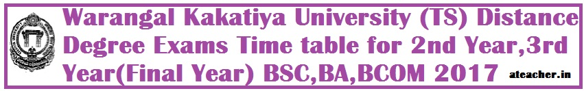 Warangal Kakatiya University (TS) Distance Degree Exams Time table for 2nd Year,3rd Year(Final Year) BSC,BA,BCOM 2017
