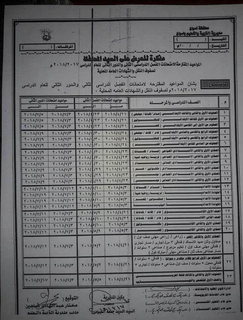 جدول امتحانات الصف الخامس الابتدائي 2018 الترم الثاني محافظة اسوان