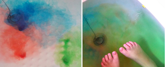 rainbow coloured bath water.