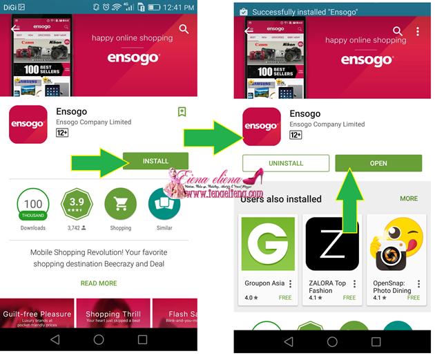 Pembelian memalui Ensogo Apps