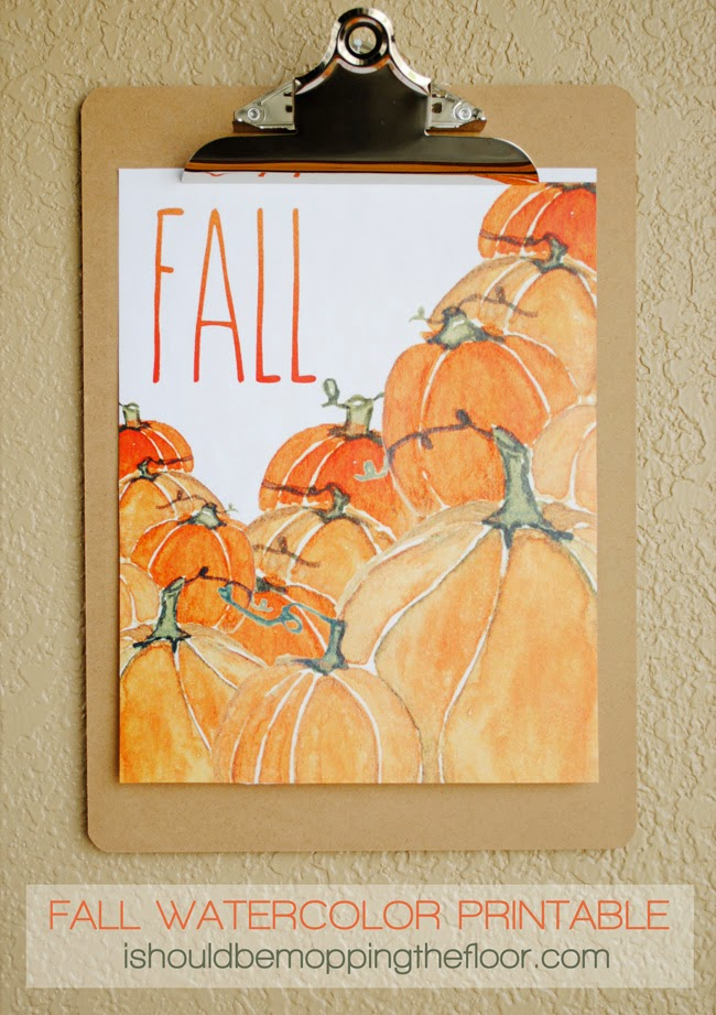 Free pumpkin watercolor printable